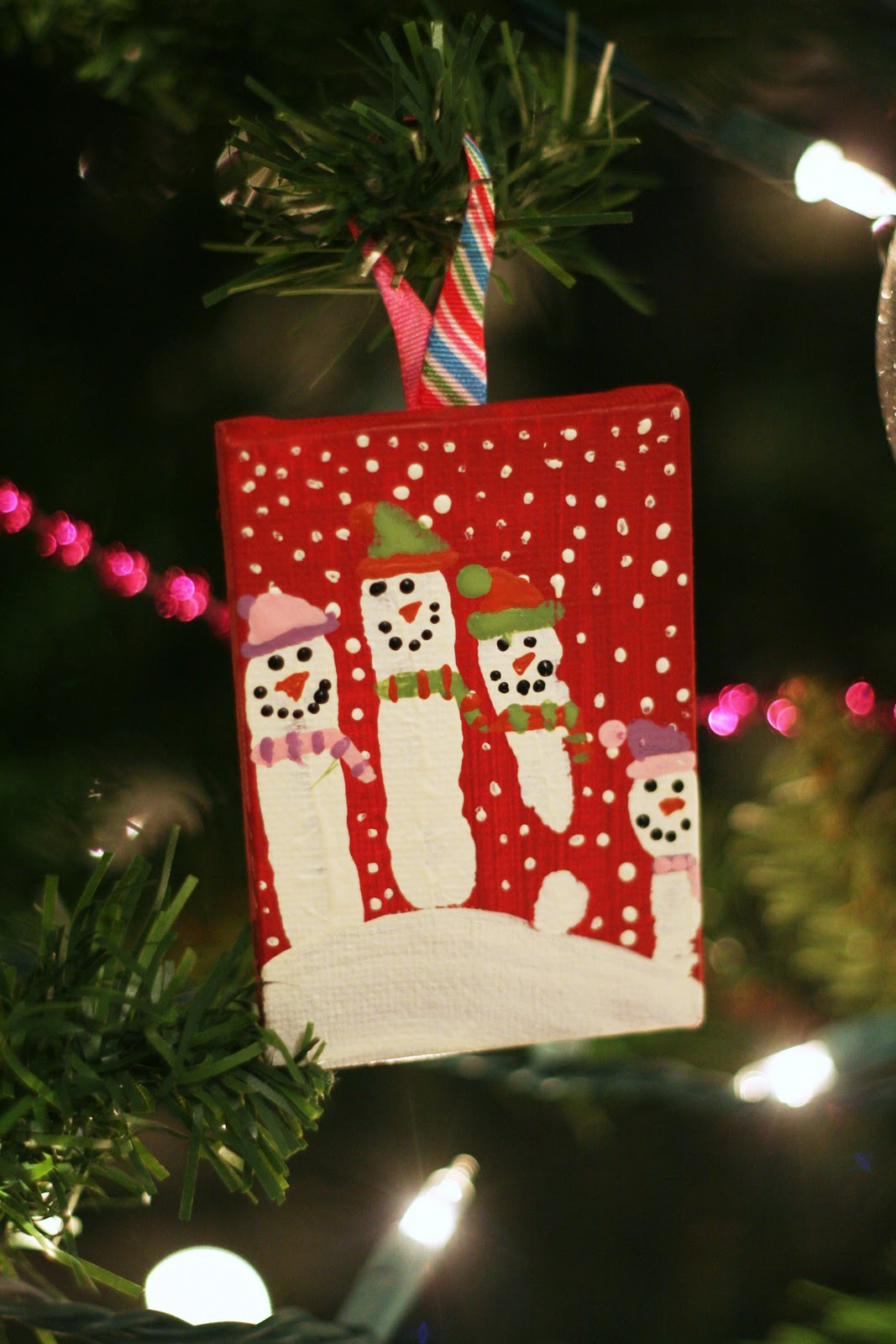 Snowman Handprint Canvas Ornament
