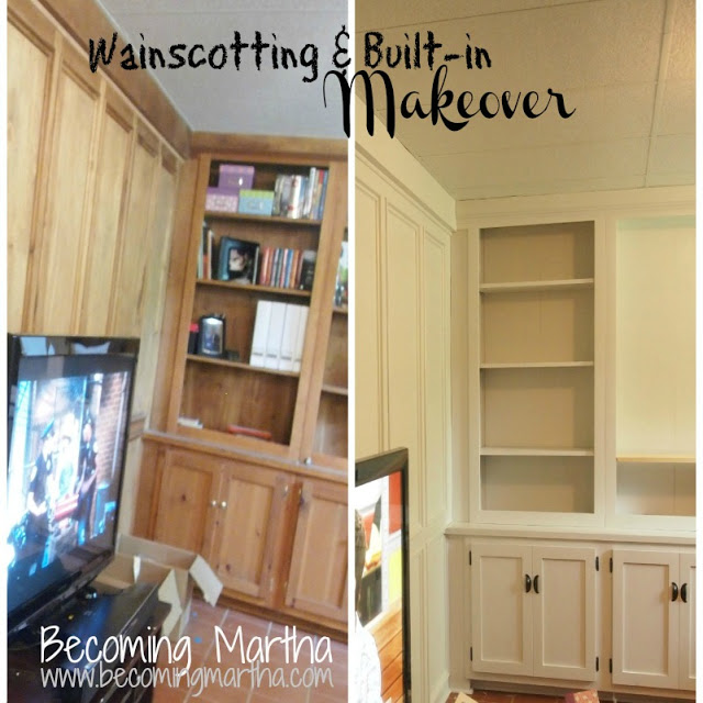 Painting Built ins and Wainscotting in Our Family Room