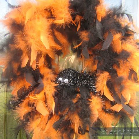 A Feathery Halloween Wreath