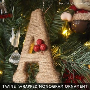 twine wrapped monogram ornament - becoming martha