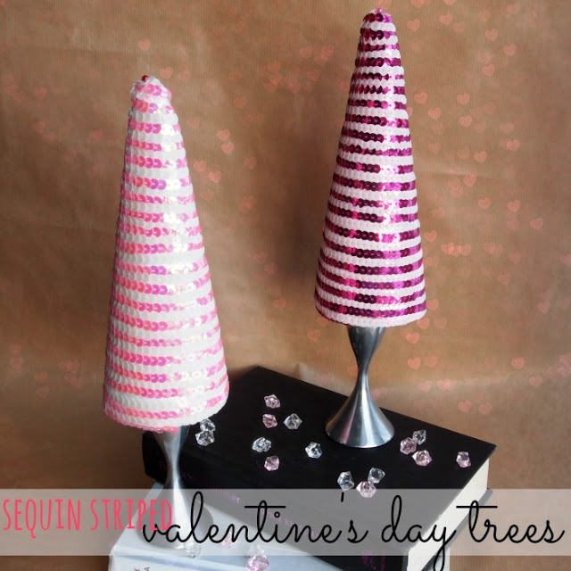 Sequin-Striped Valentine's Day Trees