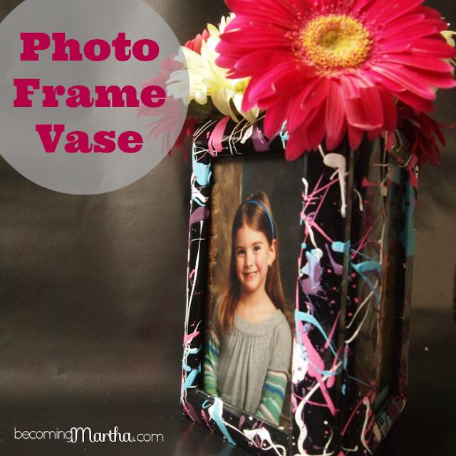 Paint Splattered Photo Frame Vase {A Party Centerpiece}