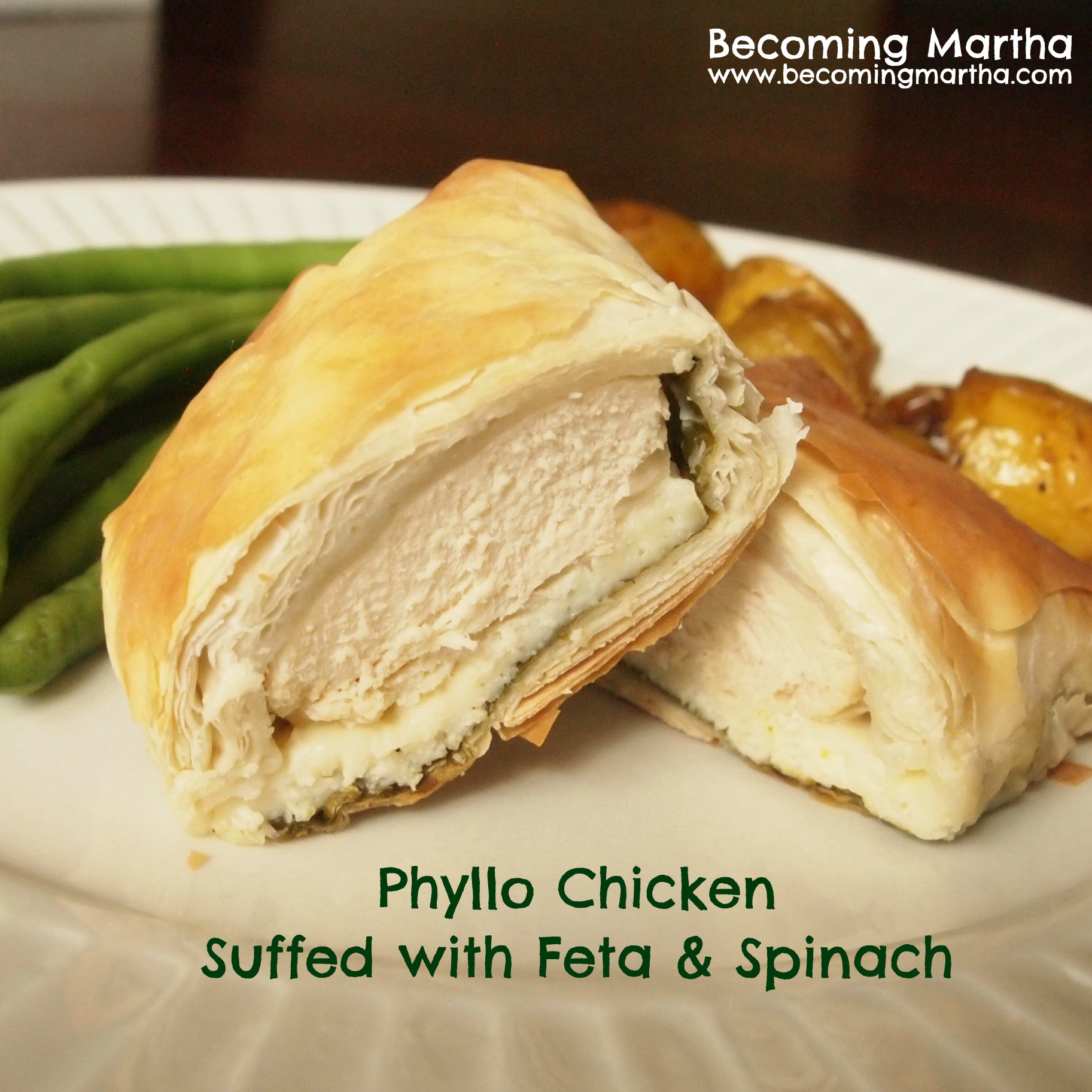 Phyllo Chicken Stuffed with Feta & Spinach
