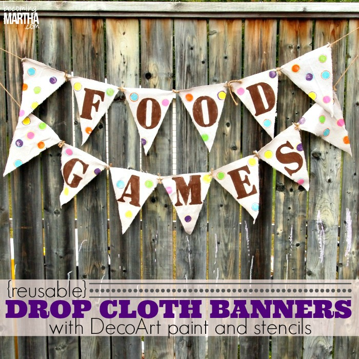 Reusable Drop Cloth Party Banners - The Simply Crafted Life