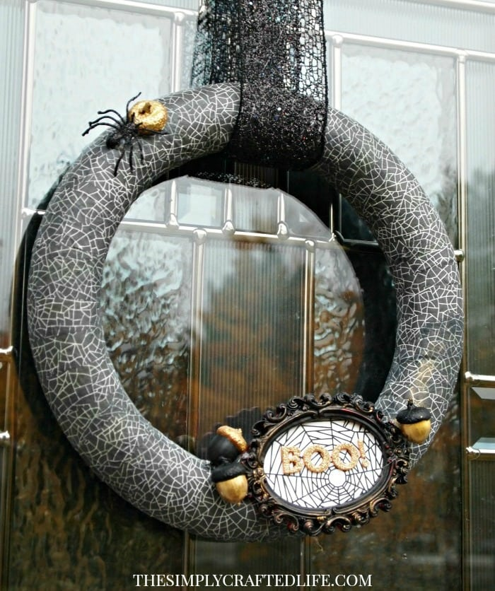 Black and Gold Glam Halloween Wreath