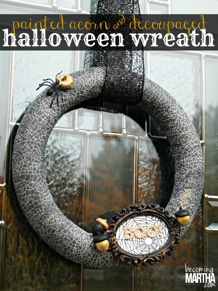 Painted Acorn and Decoupaged Halloween Wreath - The Simply Crafted Life