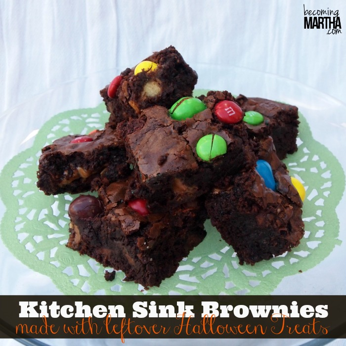 Kitchen Sink {or Loaded} Brownies with Leftover Halloween Treats