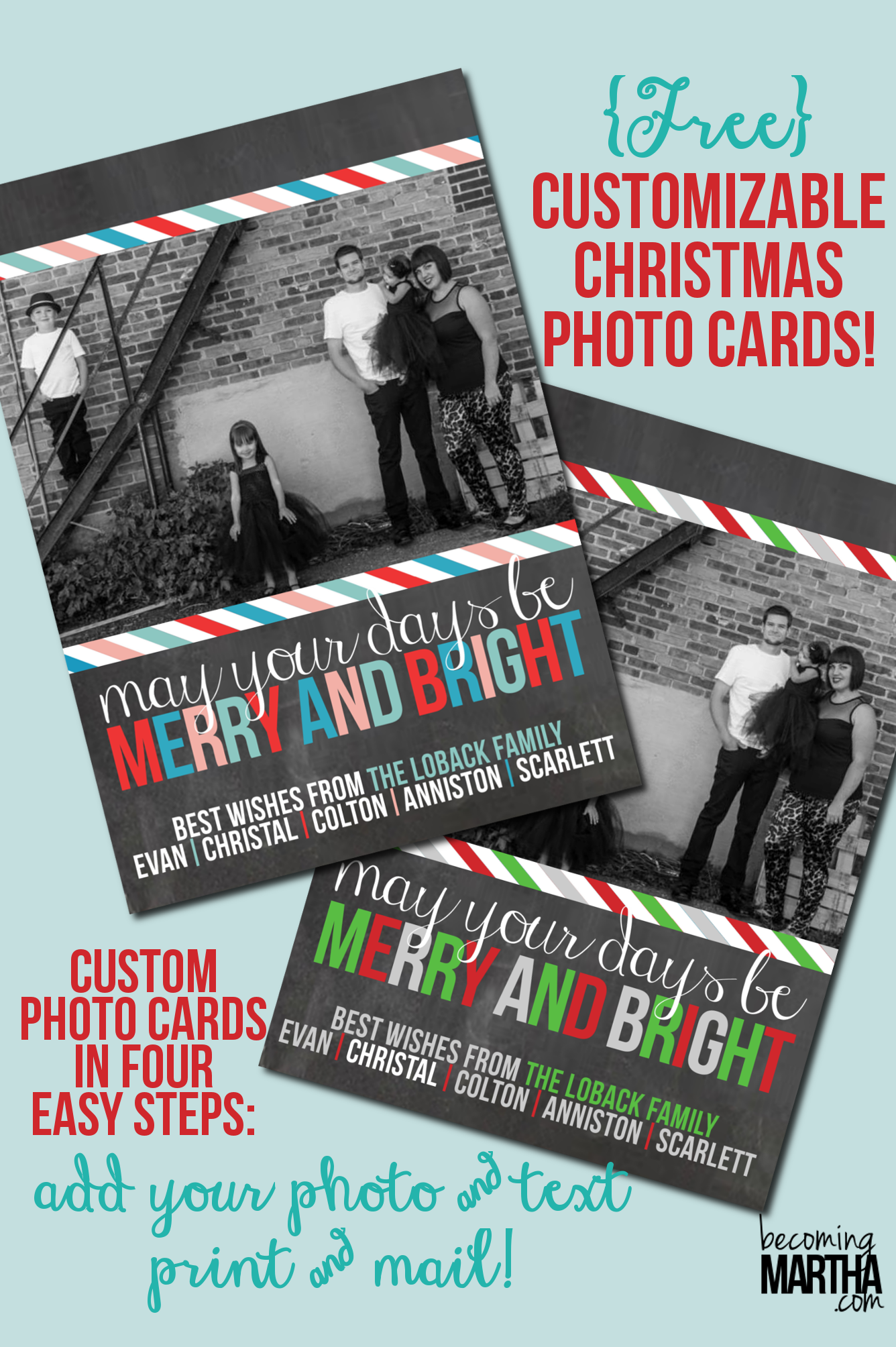 Free Printable Christmas Cards {Customize with Your Own Photo!}