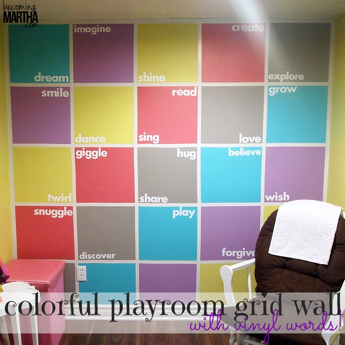 Colorful Playroom Accent Wall with Vinyl Words