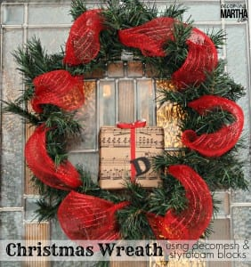 DecoMesh & Garland Christmas Wreath with Styrofoam Blocks