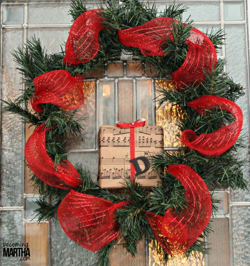 DecoMesh and Garland Christmas Wreath with Styrofoam Gift