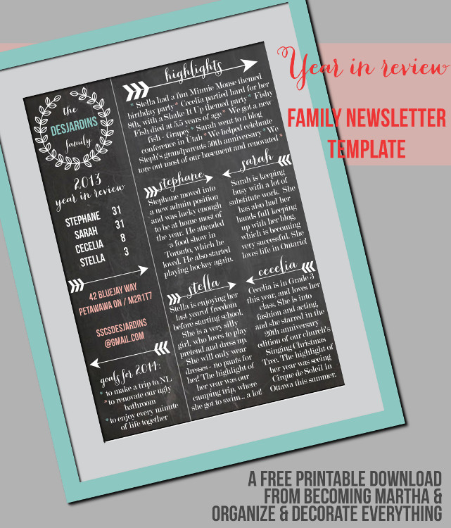 Family Newsletter Template - Becoming Martha