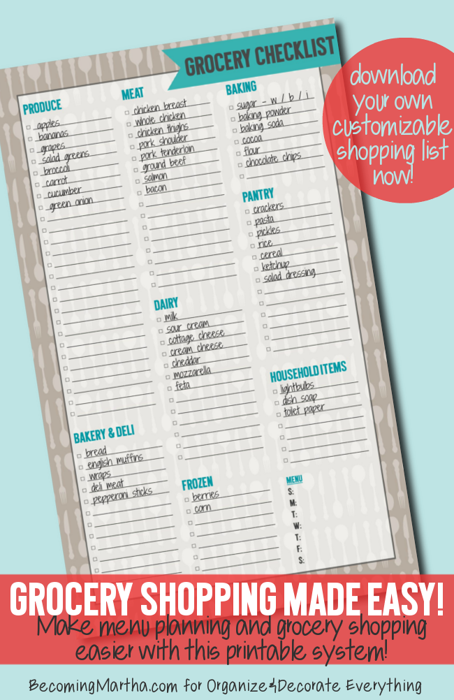 Grocery Shopping Checklist from Becoming Martha