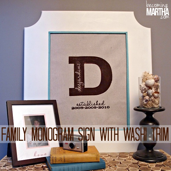 Framed Family Monogram Sign with Washi Tape Trim