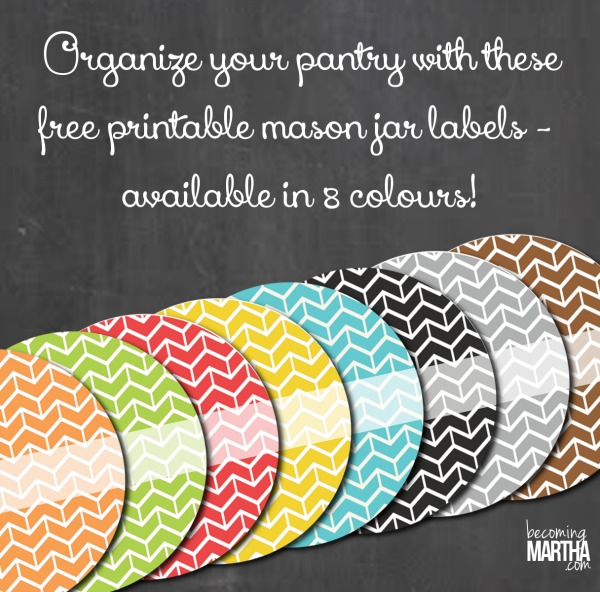 Organize your Pantry with Printable Mason Jar Labels in 8 Colors!