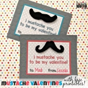 Adhesive Mustache Valentines {Free Printable}