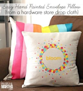 Easy Envelope Pillow Cover from a Drop Cloth