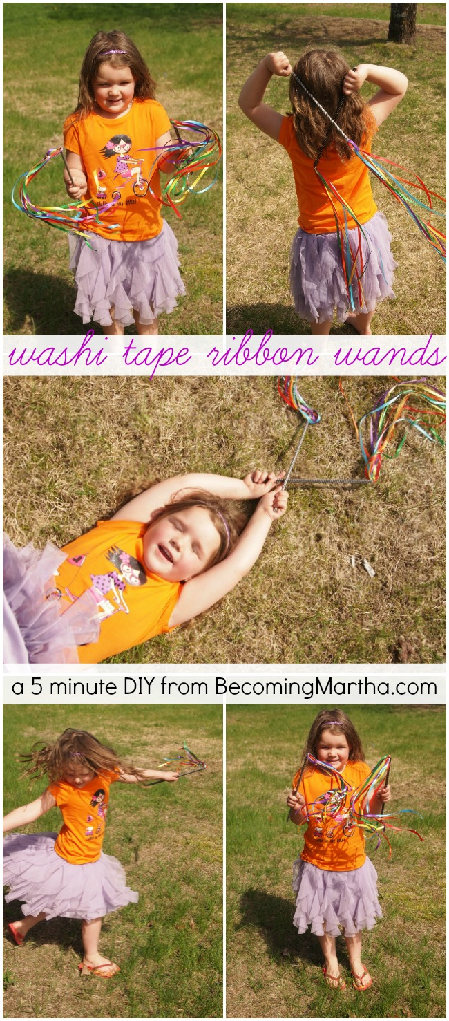 DIY Ribbon Wands take less than five minutes to create, but your kids will play with them for hours!