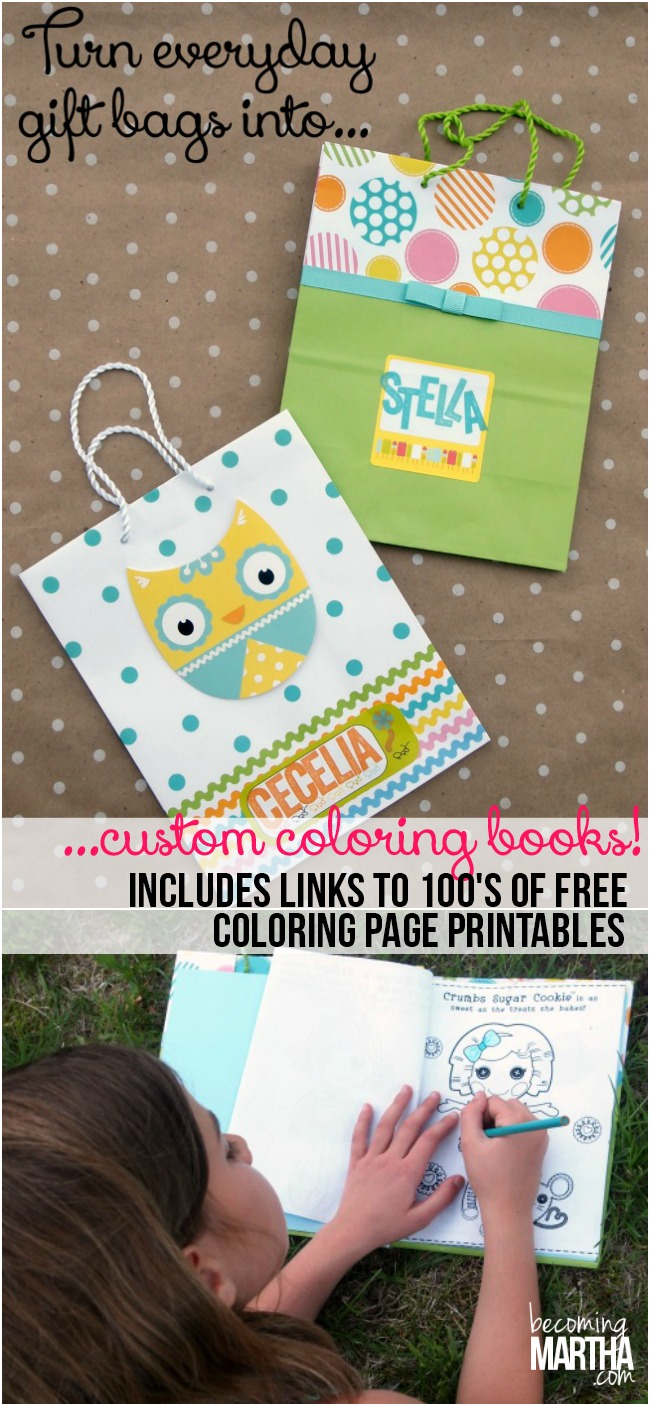 Turn Gift Bags Into Custom Coloring Books