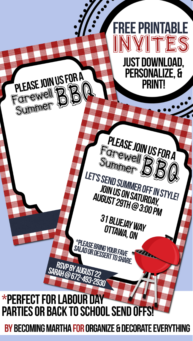 Farewell Summer - Free Printable BBQ Invitations