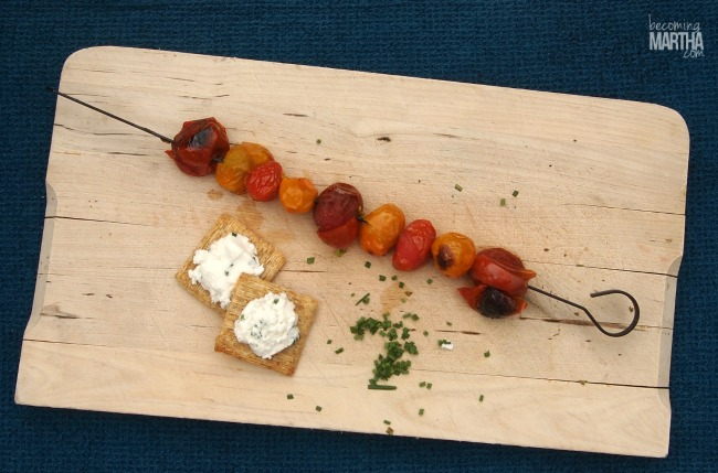 These delicious heirloom cherry tomato and goat cheese appetizers are perfect for a summer send off party!
