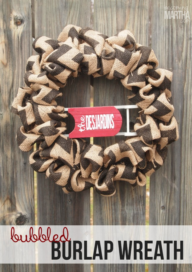 "Personalized ""Bubbled"" Christmas Burlap Wreath"