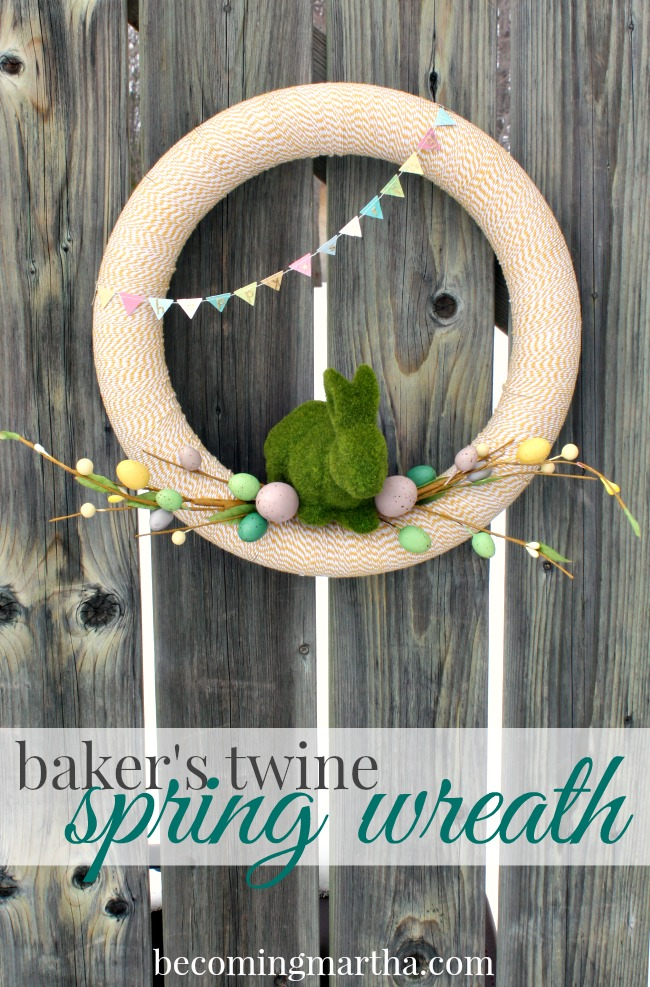 This Baker's Twine Spring Wreath is a breeze to put together thanks to premade Easter decorations!