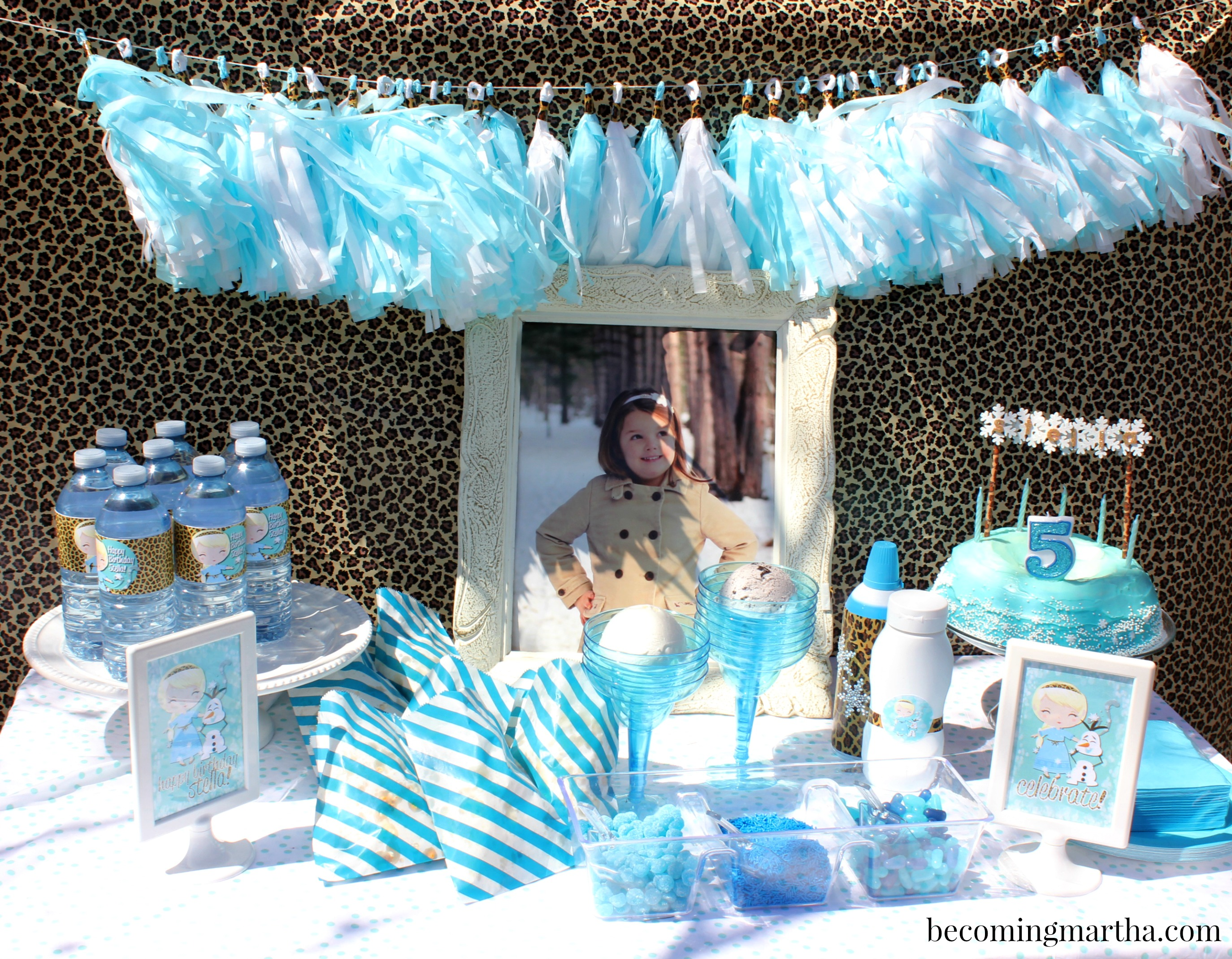 Cheetah Printed Frozen Party for a Fifth Birthday