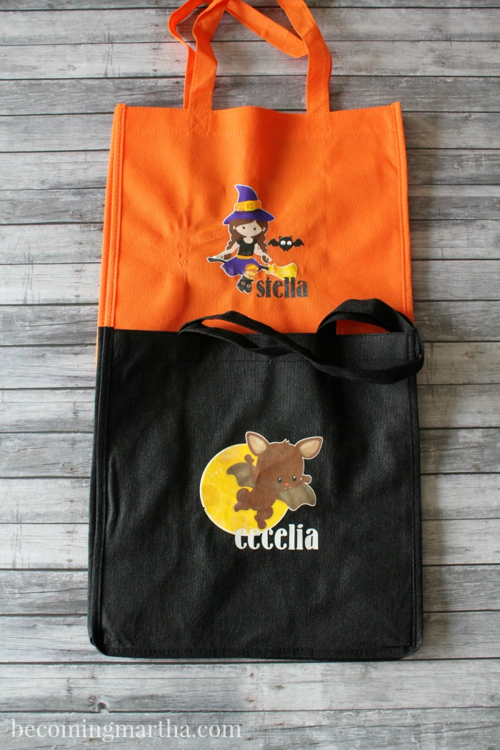 Create these personalized trick or treat bags to hold all those Halloween goodies! Printable iron on vinyl makes this project a breeze!