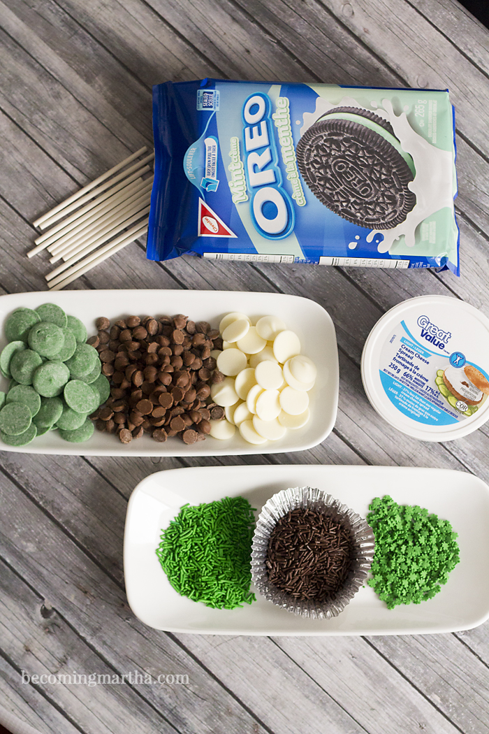 These mint oreo cookie pops are made with just three ingredients (plus sprinkles!) and are simple to make - use shamrock sprinkles to create a perfect St. Patrick's Day treat!