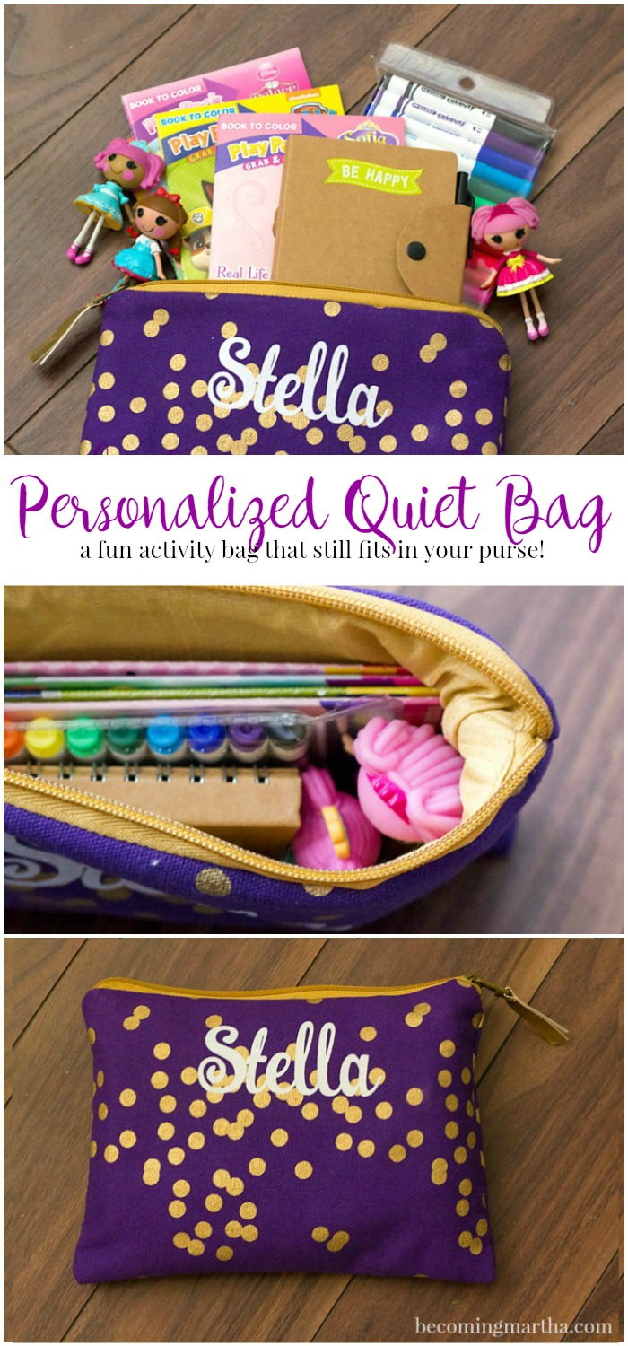 These personalized busy bags are small enough to keep in the car and carry in your purse - they also make a great gift for little ones!