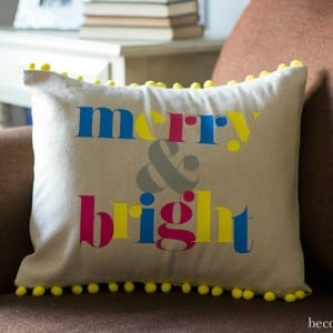 DIY Merry and Bright Christmas Pillow with Pom Pom Trim