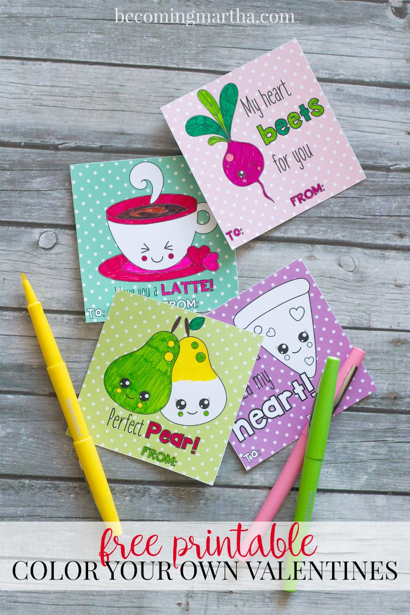 Free Printable Valentines – Color Your Own Valentine Cards!