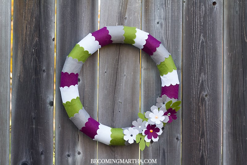 This felt wreath is a perfect addition to any fall home decor or front door! Cutting all of the felt with the Cricut Maker makes it a quick project!