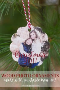 Wood Photo Ornaments with Printable Iron On