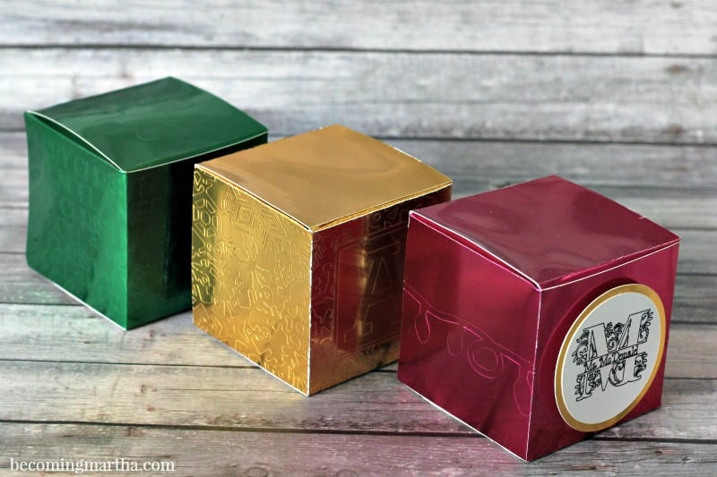 These faux embossed Cricut gift boxes make great teacher gifts when you fill them with a teachers two favorite things - chocolate and a gift card to their favorite coffee (or tea) joint.