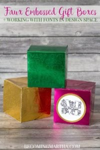 Cricut Gift Boxes with Metallic Faux Embossing
