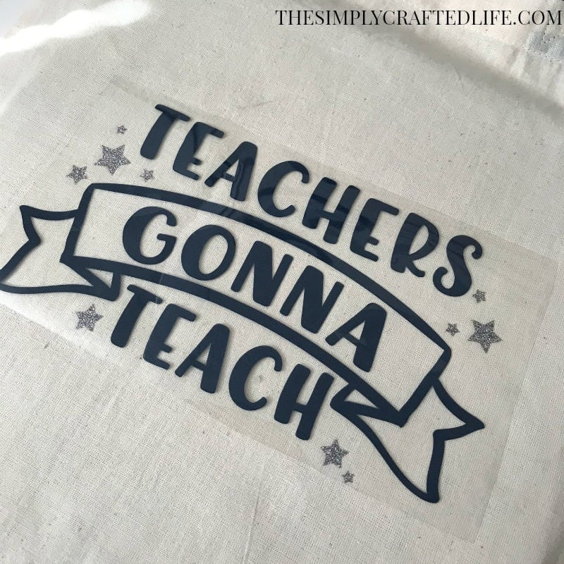 This post shares a free teacher appreciation SVG cut file, which looks great cut out of iron on vinyl and adhered to a tote bag. Fill it with summer essentials and you have a great end of the year gift for those special teachers!